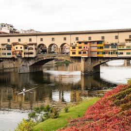 Ponte Vecchio by Andrej Kozelj - Buildings & Architecture Bridges & Suspended Structures ( colorful, colors, beautiful, toscany, boat, rivers, historic, city, history, florence, arhitecture, color, bridge, historical, town, bridges, flowers, italy, flower, river )