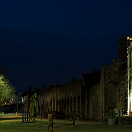 Old Town Walls by Richard Bull - City,  Street & Park  Street Scenes ( southampton, night, old walls, pub, 10th centry )