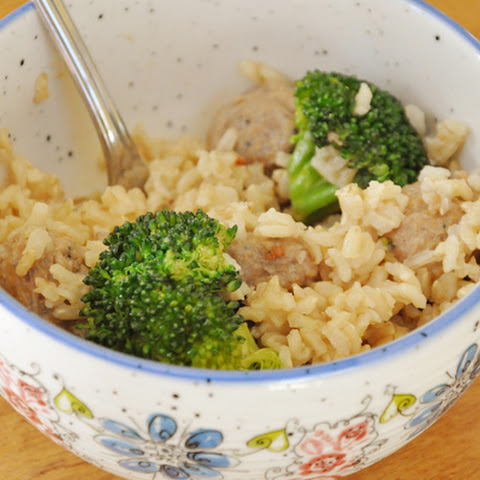 Brown Rice Broccoli and Sausage Pilaf