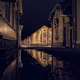 by Bojan Bilas - City,  Street & Park  Night ( urban exploration, building, old, reflection, finland, architecture, travel, city, rauma, lights, urban, suomi, long exposure, night )
