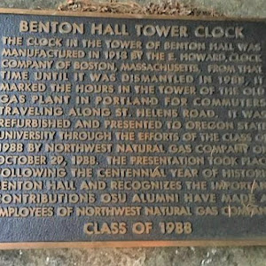 Benton Hall Tower ClockThe clock in the tower of Benton [now Community Hall] was manufactured in 1913 by the E. Howard ClockCompany of Boston, Massachusetts. From thattime until it was dismantled in ...