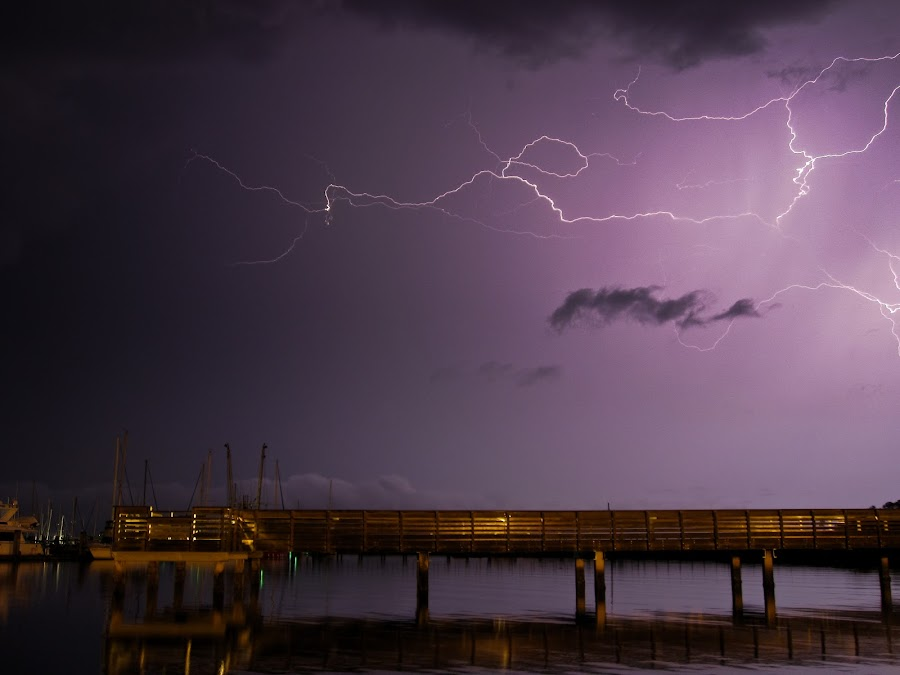 Lightning at St. Mary's by Eddie Rodriguez - Landscapes Weather