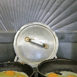 Fried Eggs by Eva Pastor - Food & Drink Cooking & Baking ( frying, eggs, breakfast, sunny side up )