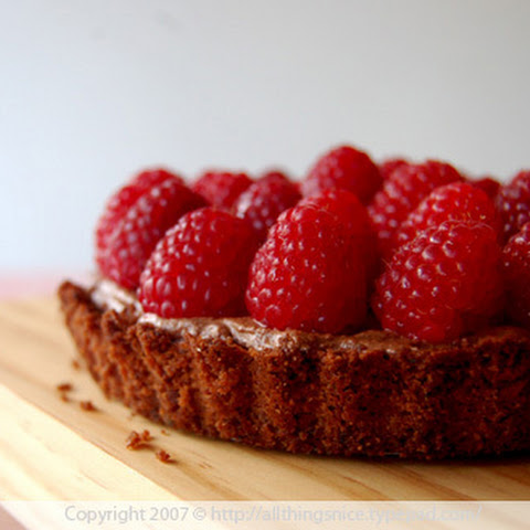 Dark Chocolate Mousse and Raspberry Tart