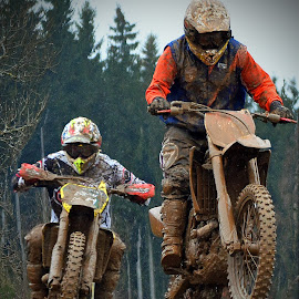 Champion's Fight by Marco Bertamé - Sports & Fitness Motorsports ( jumping, rainy, fight, champions, race, close, bike, mud, motocross, motorcycle, clumps, duel, competition,  )
