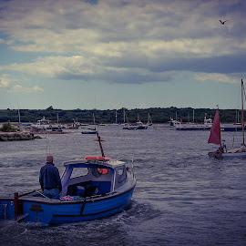 Boats Entering Mudeford Harbour by Paul Milligan - Transportation Boats ( boating, harbour, boats, seascape, transportation )