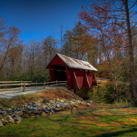 Campbell's Covered Bridge  by Randell Whitworth - Landscapes Travel ( greenville, sc, bridge, covered )