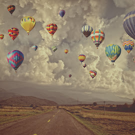 Dream away by Cosmin Lita - Digital Art Places ( clouds, dream, composition, matte, landscape, balloons )