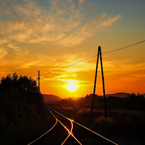 Our paths will soon emerge by Zoran Stanko - Transportation Other ( sunset, railroad, rail, path, tracks )