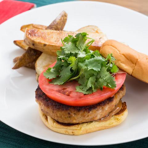 Thai Chicken Burgers with Hoisin Mayo & Roasted Potato Wedges