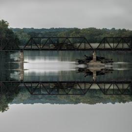 Train at Dusk by Norman Stephens - Transportation Trains ( indiana, wabash, vincennes, train, b&o, vincennes indiana train  bridge dusk wabash river, bridge, river,  )