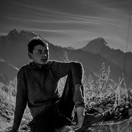 Childhood dreams by Akashneel Banerjee - Black & White Portraits & People ( clouds, mountain, nature, himalaya, portrait )