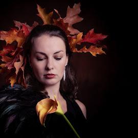 Autumn by Henk  Veldhuizen - People Portraits of Women ( portraits of women, autumn colors, autumn leaves, autumn, portrait )