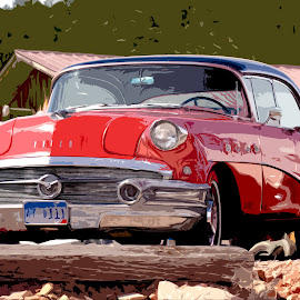 Flash Back by David Westfall - Transportation Automobiles ( car, vintage auto, red, red buick, automobile, vintage car, buick, red auto, auto, bright red, red car )