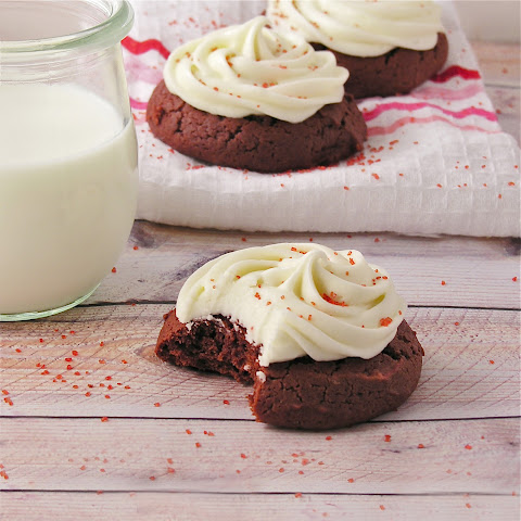 Red Velvet Cookies with Cream Cheese Icing