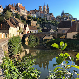 Semur en Auxois, Burgundy, France by Sue Boxell - Buildings & Architecture Public & Historical ( water, hill, church, buildings, summer, medieval architecture, bridge, river )