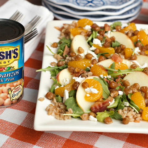 Apple Farro Bacon Salad with Candied Garbanzo Beans