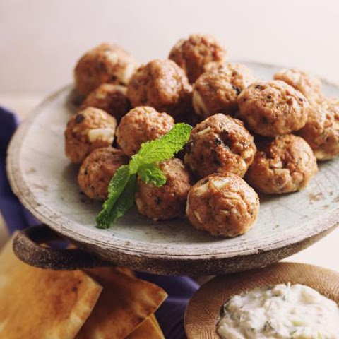 Savory lamb meatballs with Greek seasoning and refreshing tzatziki