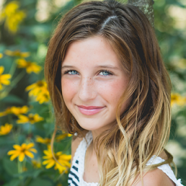 Smiles by Judy Deaver - Babies & Children Child Portraits ( blue eyes, summer portrait, flowers, smiles )