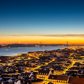 Golden lisbon by Toni Mares - City,  Street & Park  Skylines ( sunset, cityscape, lisbon, portugal, golden, golden hour,  )