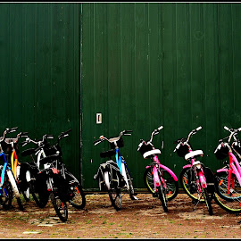Bicycles at the stand by Prasanta Das - Transportation Bicycles ( bicycles, parked, factory shed )