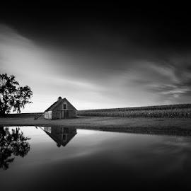 Days End by Ken Smith - Black & White Landscapes ( barn, sunset, landscape, nebraska )