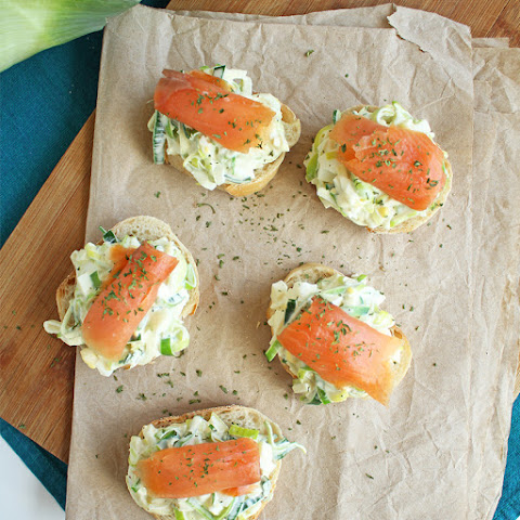 Leek Salad with Salmon on French Baguette