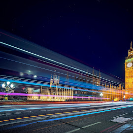 House of Parliament by Don Davies - Abstract Light Painting ( light trail, street, night, big ben, nightscape, city at night, street at night, park at night, nightlife, night life, nighttime in the city )
