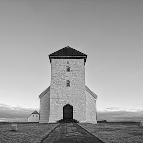 Bessastaðir church by Stefán Margrétarson - Buildings & Architecture Places of Worship ( building, iceland, christian, europe, church, black and white, bessastaðir, architecture, worship )