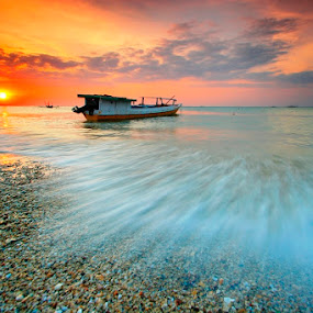 Sunset Flows by Aris Winahyu BR - Landscapes Waterscapes ( slowspeed, waterscape, sunset, neach, boat )