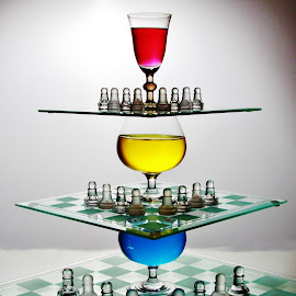 3 UP. by Peter Salmon - Artistic Objects Glass ( glasses, three, chess, up, boards )