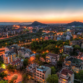 After sunset by Petar Shipchanov - City,  Street & Park  Vistas ( plovdiv, sky, hdr, sunset, cityscape, town, bulgaria, city )