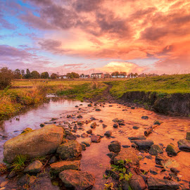 Sunset at the Stream by Ian Taylor - Landscapes Prairies, Meadows & Fields ( water, durham, houses, reflection, stream, uk, waterscape, grass, colors, green, landscape, coxhoe, colours, sky, sunset, creek, beck, stones, rocks )