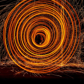 Bridge spiral by Paul Stonehouse - Abstract Light Painting ( light painting, long exposure, fire )