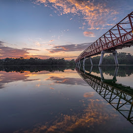 by Gordon Koh - Buildings & Architecture Bridges & Suspended Structures ( reflection, structure, asia, long exposure, bridge, architecture, sunrise, lorong halus, singapore, punggol )
