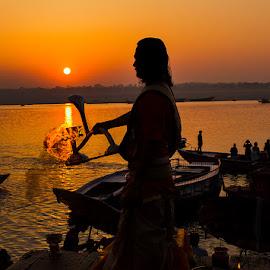 On the banks of Benares by Vivek Singh - City,  Street & Park  Historic Districts ( holy city, benares, ganges, varanasi, sunrise, hinduism )