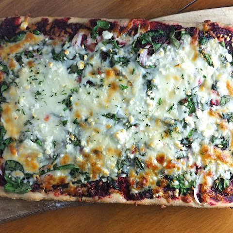Beet Pesto Pizza With Spinach And Feta