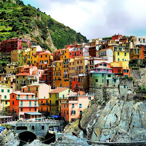 Living on a rock by Pieter Arnolli - City,  Street & Park  Historic Districts ( cinque terre, mountain, village, color, rock, travel, landscape, italy )