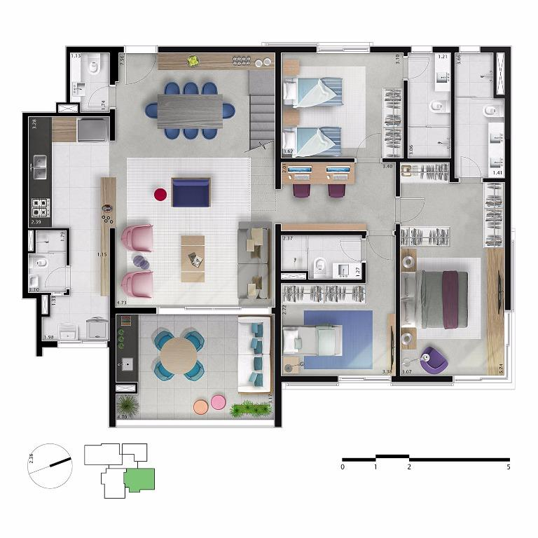 Planta Cobertura Duplex  Pav Inferior - Unid 63 m²- 218 m²