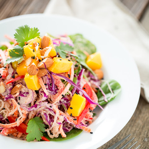 Rainbow Kelp Noodle Salad with Lemon Almond Ginger Dressing