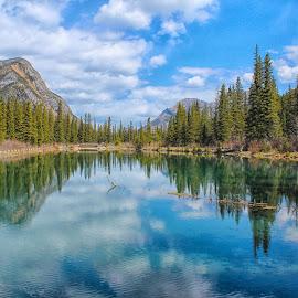 Mount Lorette Ponds by Joe Chowaniec - Landscapes Mountains & Hills ( water, mountains, reflection, nature, lake, landscape, pond )