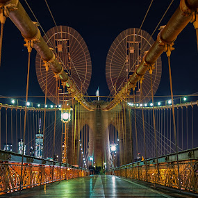 Walking the Bridge by Carol Ward - Buildings & Architecture Bridges & Suspended Structures ( brooklyn bridge, night photography, new york, nyc, brooklyn, nightscape )