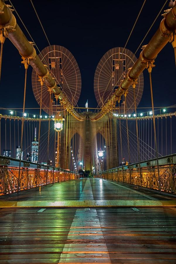 Walking the Bridge by Carol Ward - Buildings & Architecture Bridges & Suspended Structures ( brooklyn bridge, night photography, new york, nyc, brooklyn, nightscape )