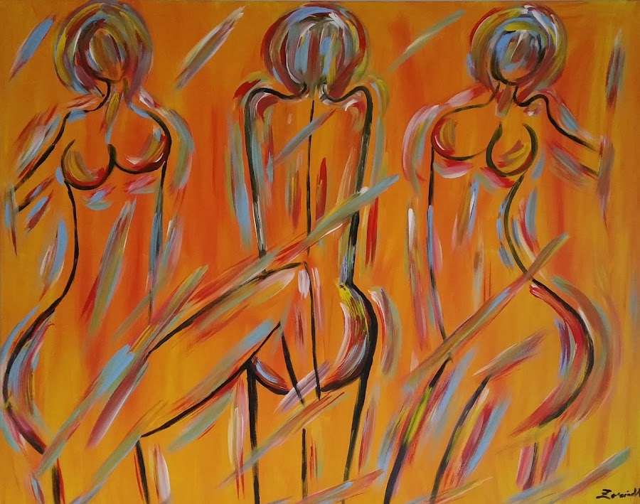 ABSTRACT NUDE LAIES by Zoritza  Wejnfalk - Painting All Painting ( modern art, abstract nude, ladie, abstract art, zoritzasart, nude women, nud )