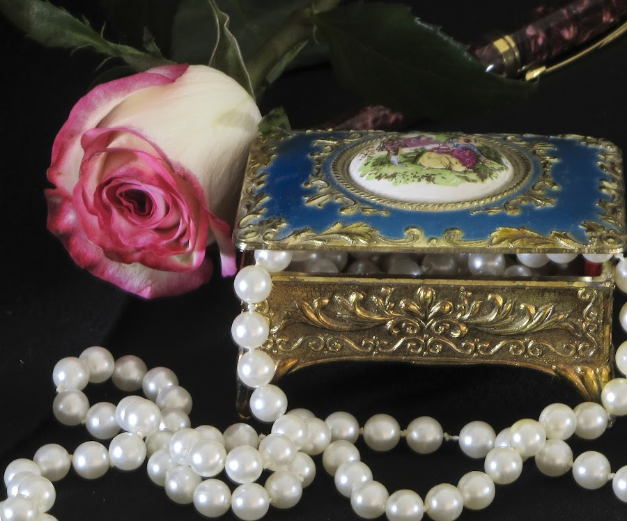 A Posh Night by Victoria Moon - Artistic Objects Other Objects ( pen, rose, pearls, jewelry box, fine art )