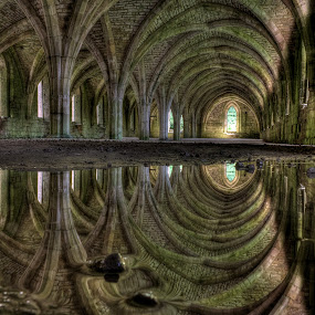Fountains abbey reflection by Keith Britton - Buildings & Architecture Places of Worship
