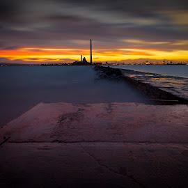 poolbeg chimneys by Marek Bator - Landscapes Sunsets & Sunrises ( poolbeg chimneys )