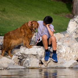 Boy and his Dog by Bobbi Steele - People Street & Candids