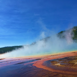 Grand Prismatic Spring in the Mist by Karen Coston - Instagram & Mobile iPhone ( prismatic, morning mist, yellowstone, natural color, hot springs, mist,  )