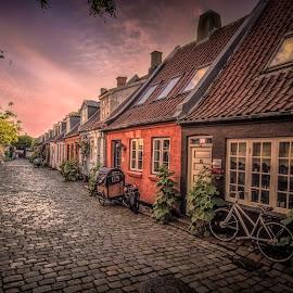 Møllegade by Ole Steffensen - City,  Street & Park  Street Scenes ( bike, cobblestones, street, møllegade, denmark, homes, aarhus )